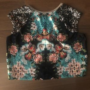 Xhilaration sequin floral grey tank top crop top